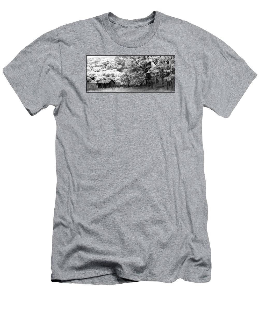 Infrared Men's T-Shirt (Athletic Fit) featuring the photograph Shiners Cabin by Ronnie Gilbert