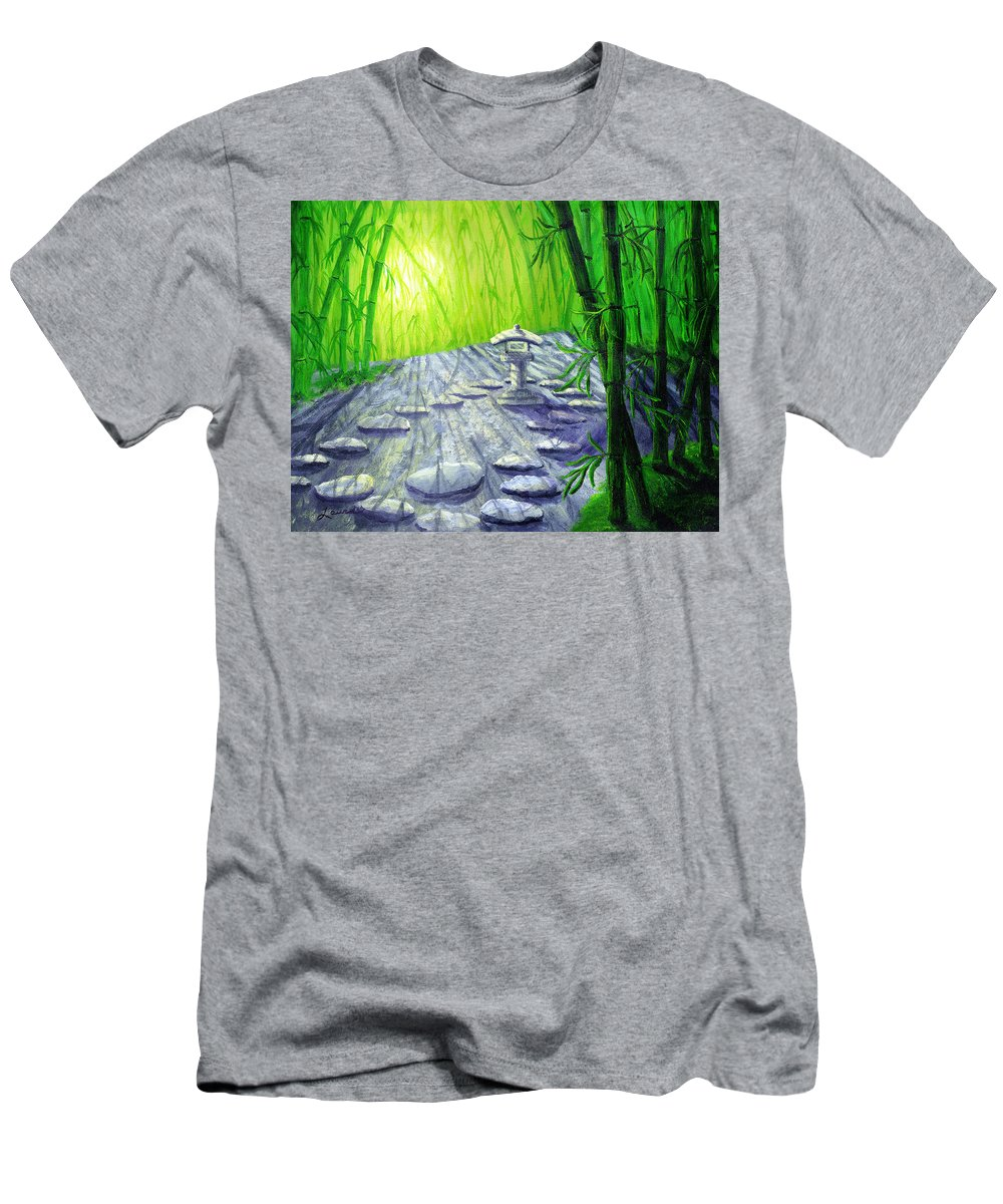 Zen Men's T-Shirt (Athletic Fit) featuring the painting Shinto Lantern In Bamboo Forest by Laura Iverson