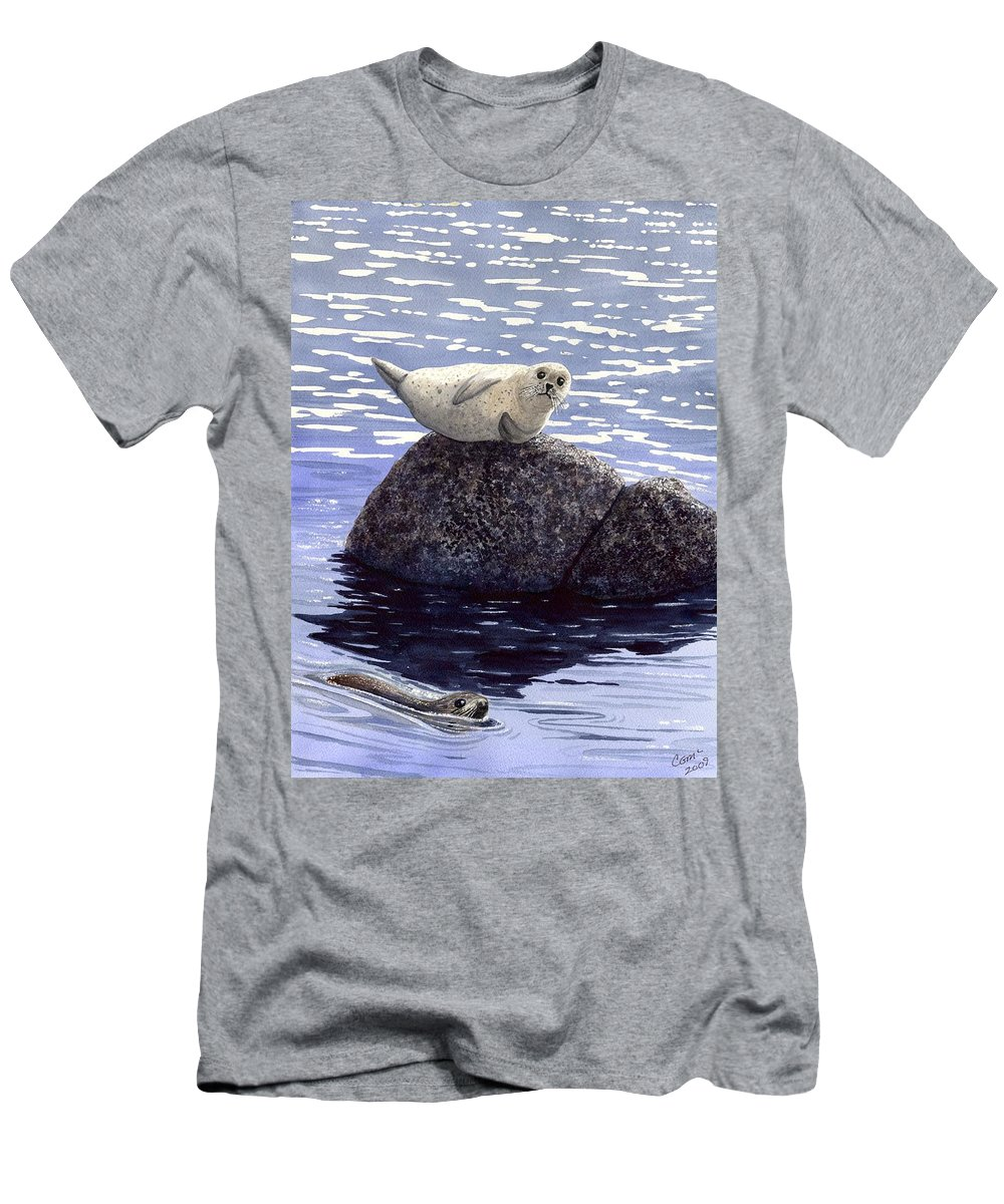 Seal Men's T-Shirt (Athletic Fit) featuring the painting Show Off by Catherine G McElroy