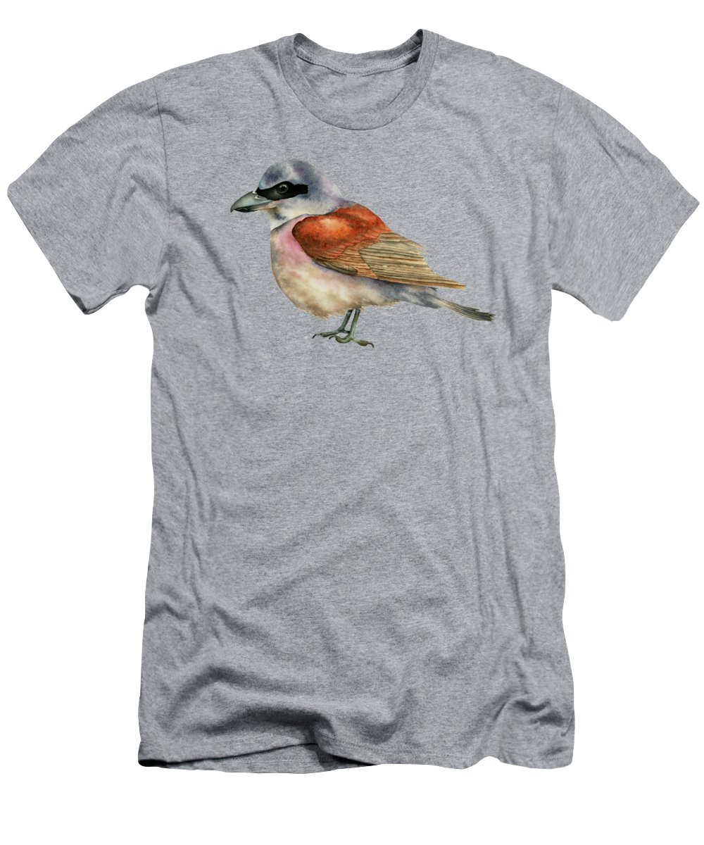 Watercolor Men's T-Shirt (Athletic Fit) featuring the painting Shrike Bird Watercolor Painting by NamiBear