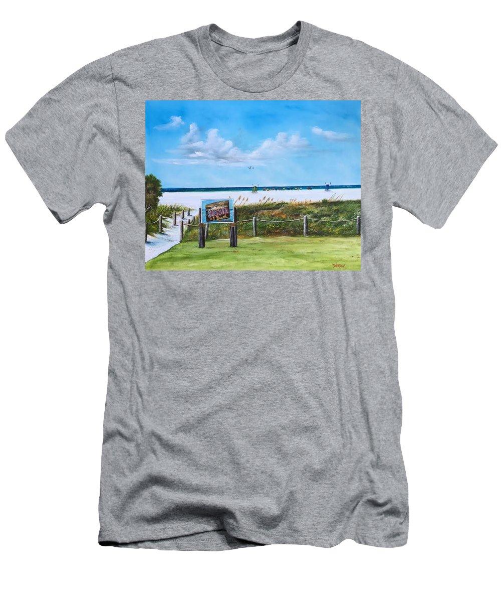 Siesta Key Men's T-Shirt (Athletic Fit) featuring the painting Siesta Key Public Beach by Lloyd Dobson
