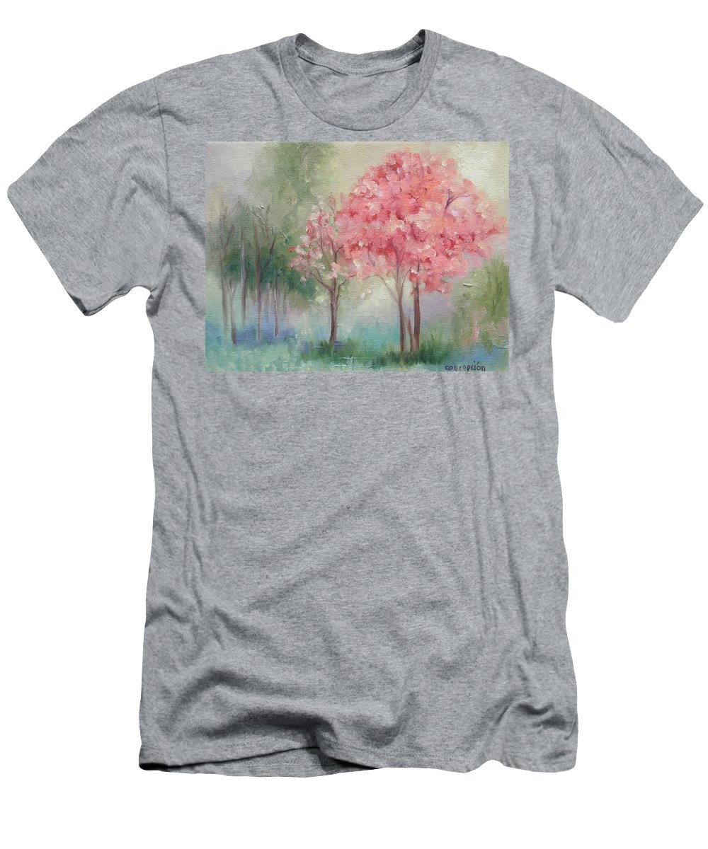 Spring T-Shirt featuring the painting Sign of Spring by Ginger Concepcion
