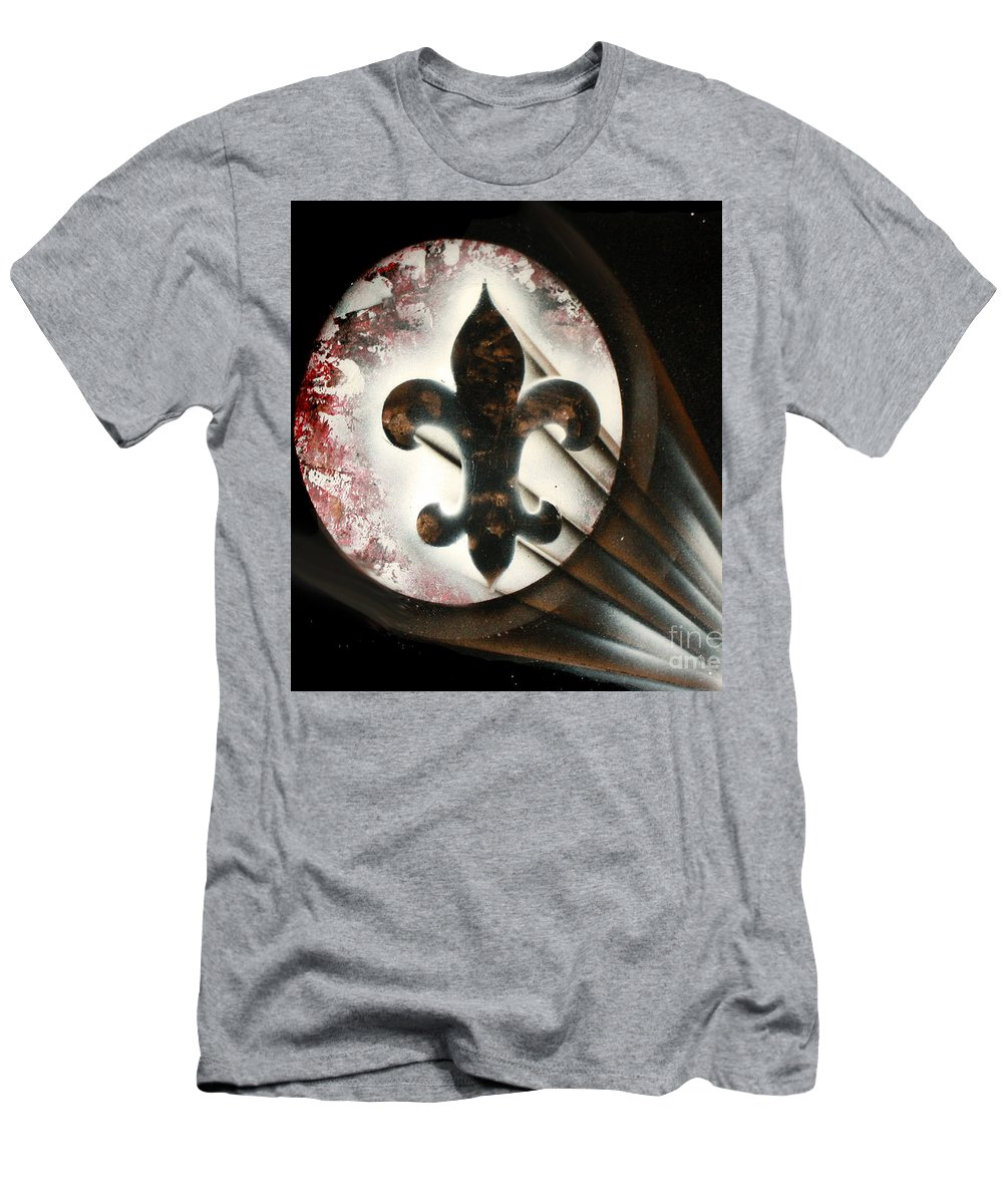 Fleur Di Lis Men's T-Shirt (Athletic Fit) featuring the painting Signal Di Lis by Thomas Oliver