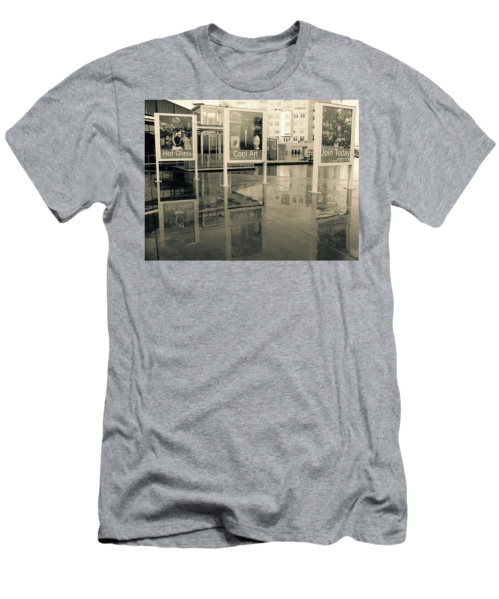 Signs Men's T-Shirt (Athletic Fit) featuring the photograph Signs In The Rain by Stacey Lanning