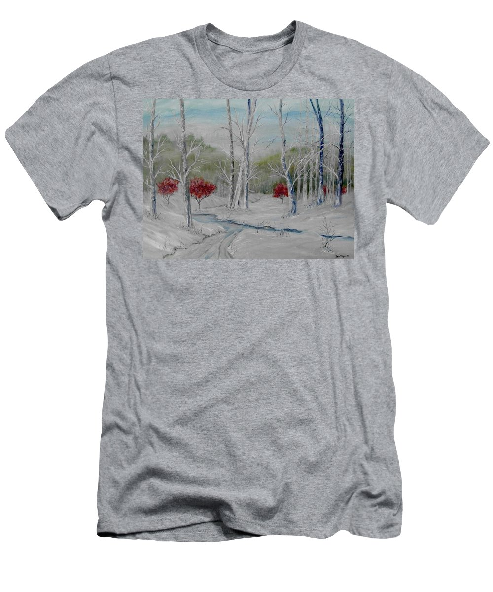 Snow; Winter; Birch Trees Men's T-Shirt (Athletic Fit) featuring the painting Silence by Ben Kiger