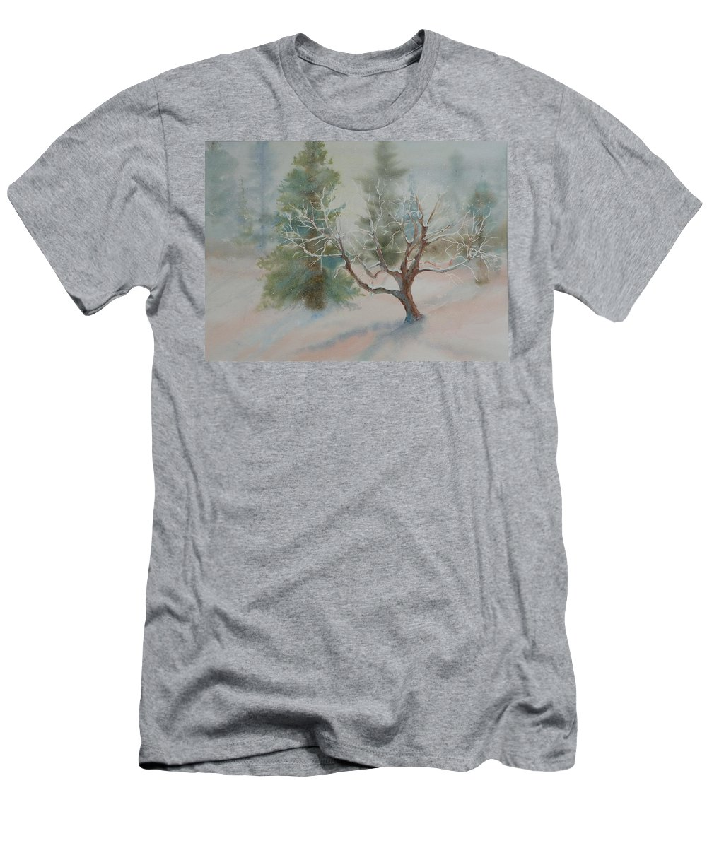 Snow Men's T-Shirt (Athletic Fit) featuring the painting Silence by Ruth Kamenev