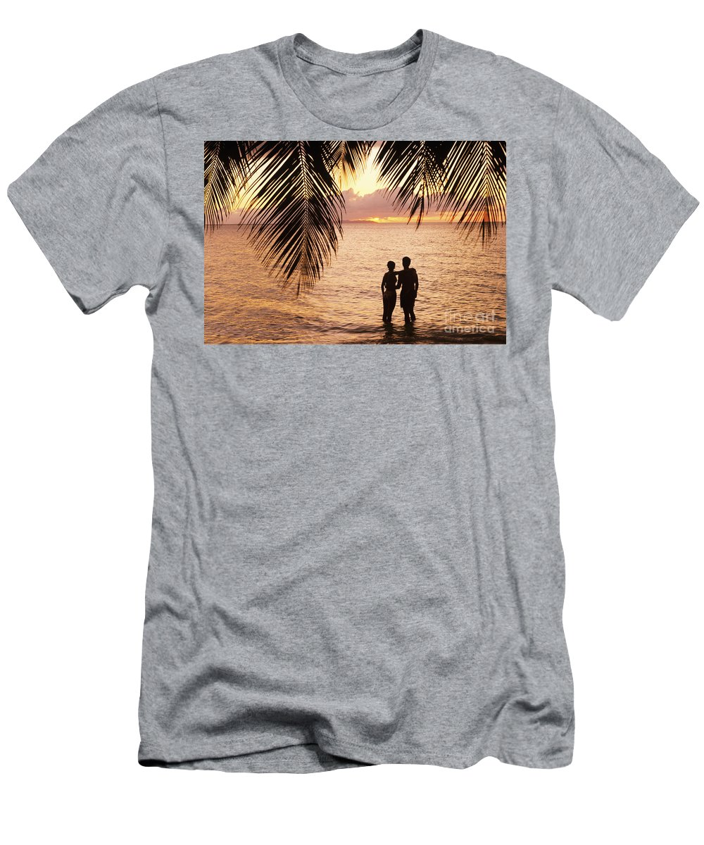 Bay Islands Men's T-Shirt (Athletic Fit) featuring the photograph Silhouetted Couple by Larry Dale Gordon - Printscapes