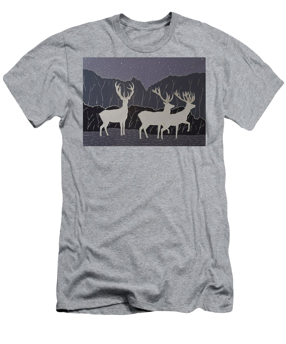 Silver Men's T-Shirt (Athletic Fit) featuring the painting Silver Deers by Polina Kamenska