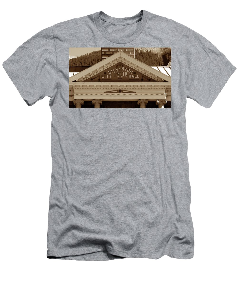 Fine Art Photography Men's T-Shirt (Athletic Fit) featuring the photograph Silverton City Hall 1908 by David Lee Thompson