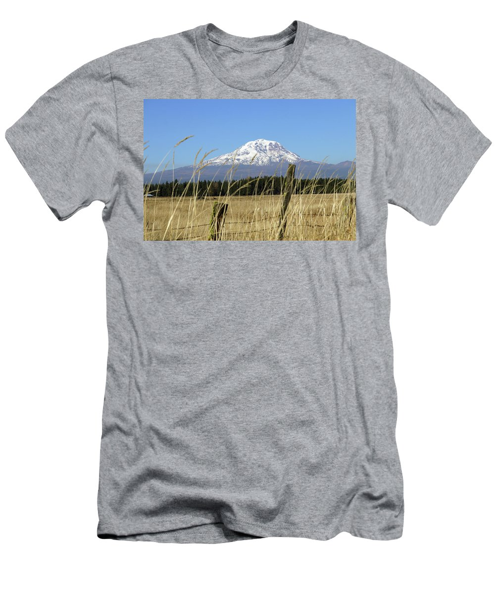 Mount Adams Pasture Land Men's T-Shirt (Athletic Fit) featuring the photograph Mount Adams by Mary Masters