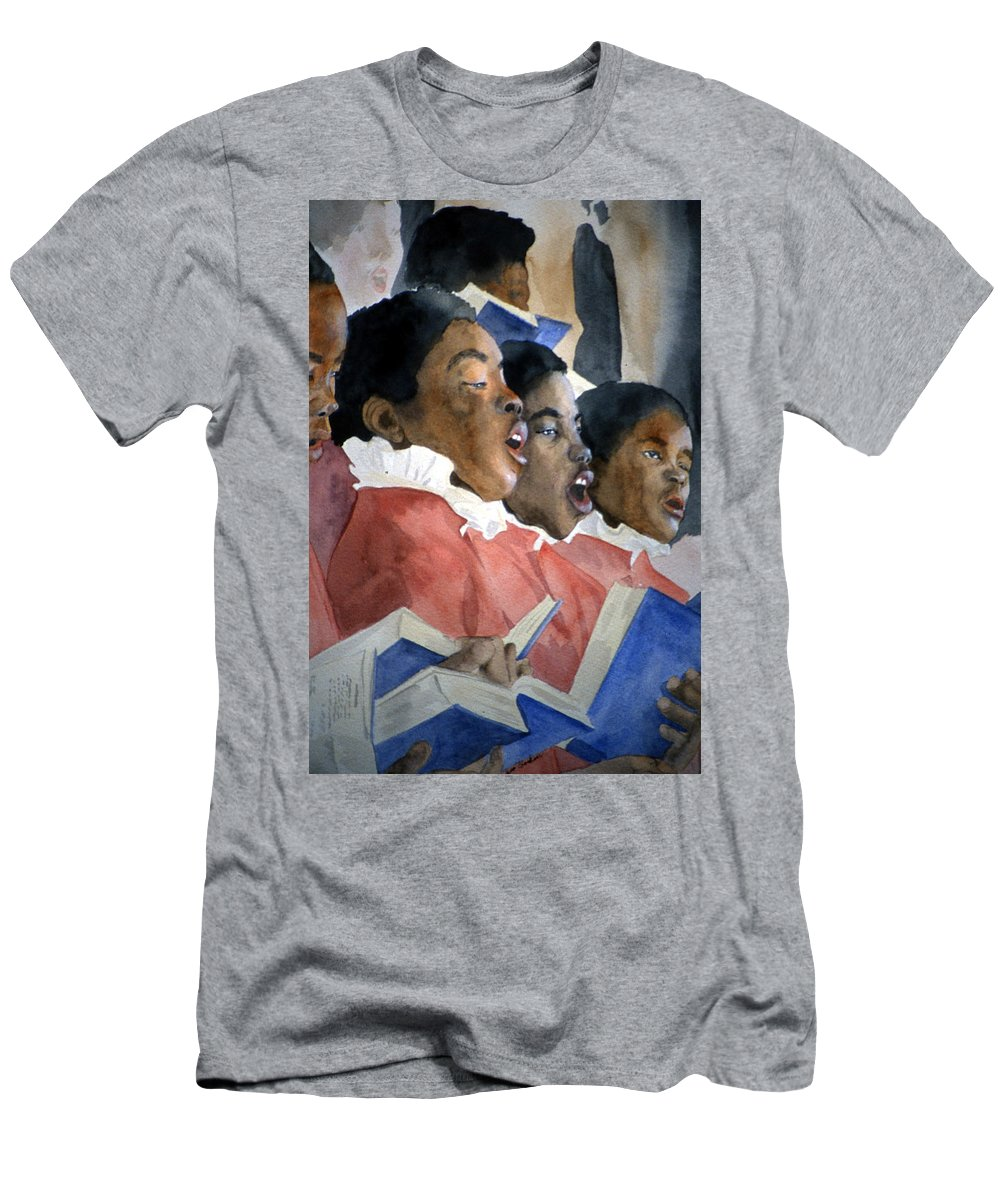 Choir Men's T-Shirt (Athletic Fit) featuring the painting Sing Out Your Joy by Jean Blackmer