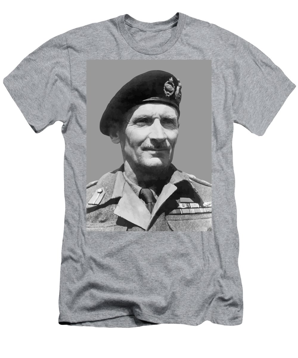 Monty Men's T-Shirt (Athletic Fit) featuring the painting Sir Bernard Law Montgomery by War Is Hell Store
