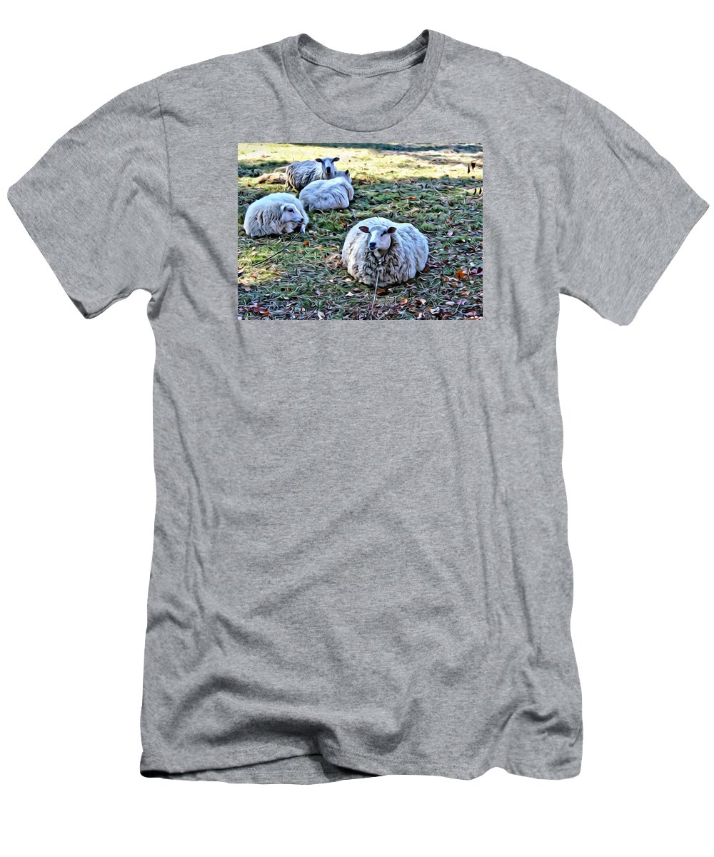Sheep Men's T-Shirt (Athletic Fit) featuring the photograph Sitting There by Modern Art