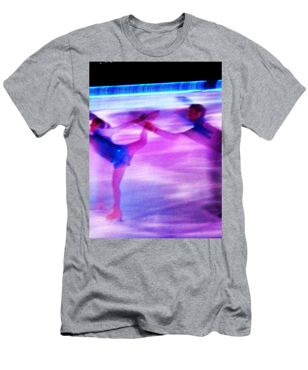 Skating Men's T-Shirt (Athletic Fit) featuring the painting Skating Couple Abstract 2 by Eric Schiabor