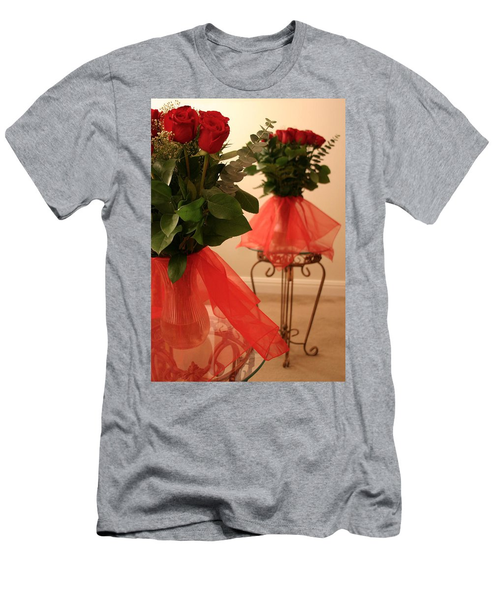 Roses Men's T-Shirt (Athletic Fit) featuring the photograph Skirted Roses In Mirror by Kristin Elmquist