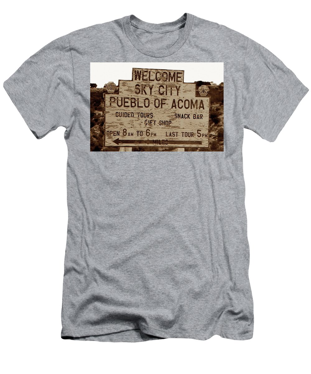 Fine Art Photography Men's T-Shirt (Athletic Fit) featuring the photograph Sky City Sign by David Lee Thompson