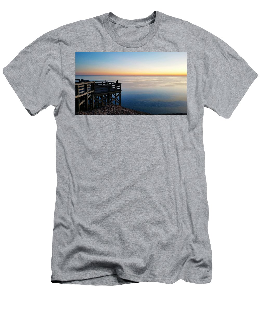 Overlook Men's T-Shirt (Athletic Fit) featuring the photograph Sleeping Bear Overlook At Dusk 02 by William Slider
