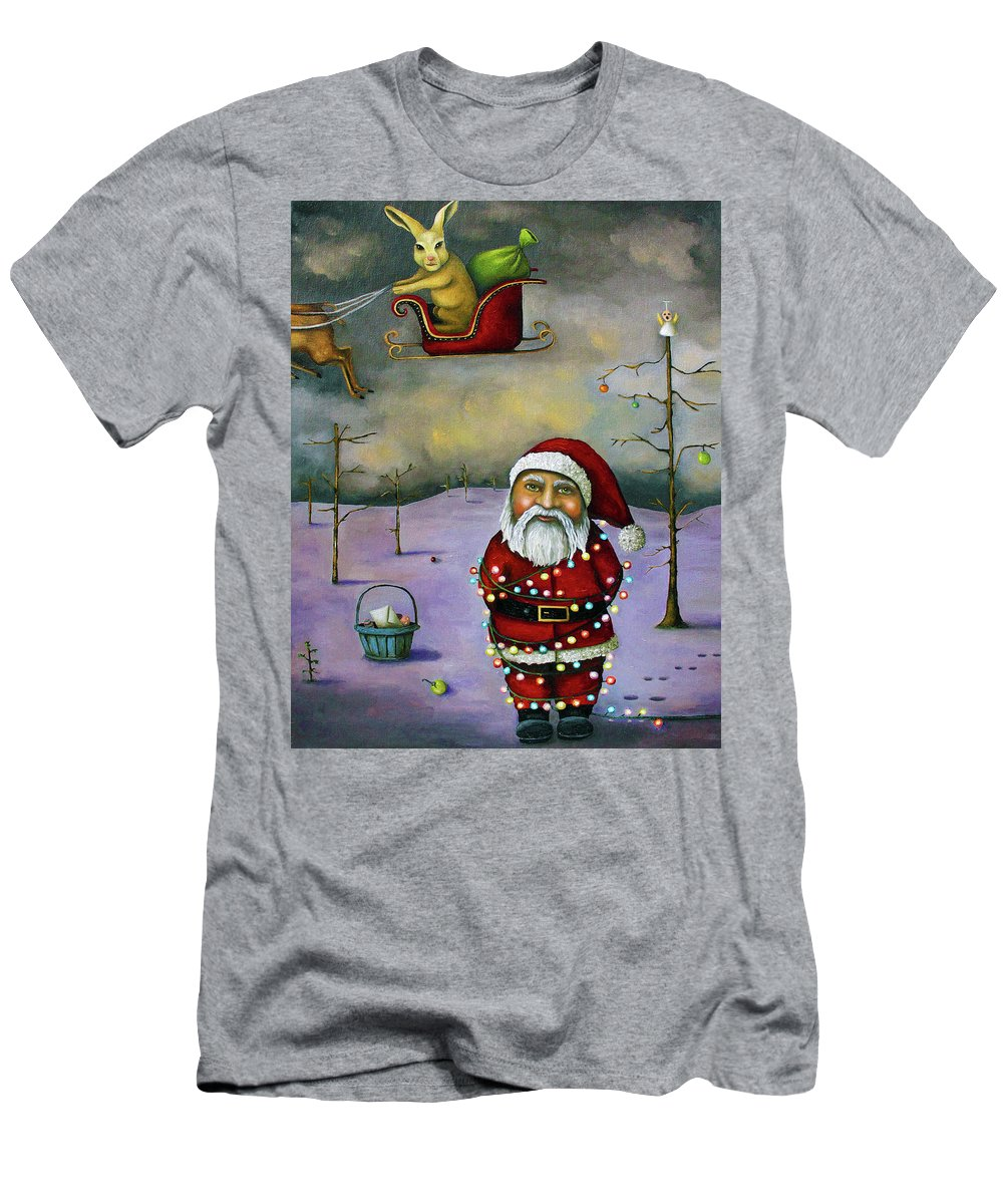 Santa Men's T-Shirt (Athletic Fit) featuring the painting Sleigh Jacker by Leah Saulnier The Painting Maniac