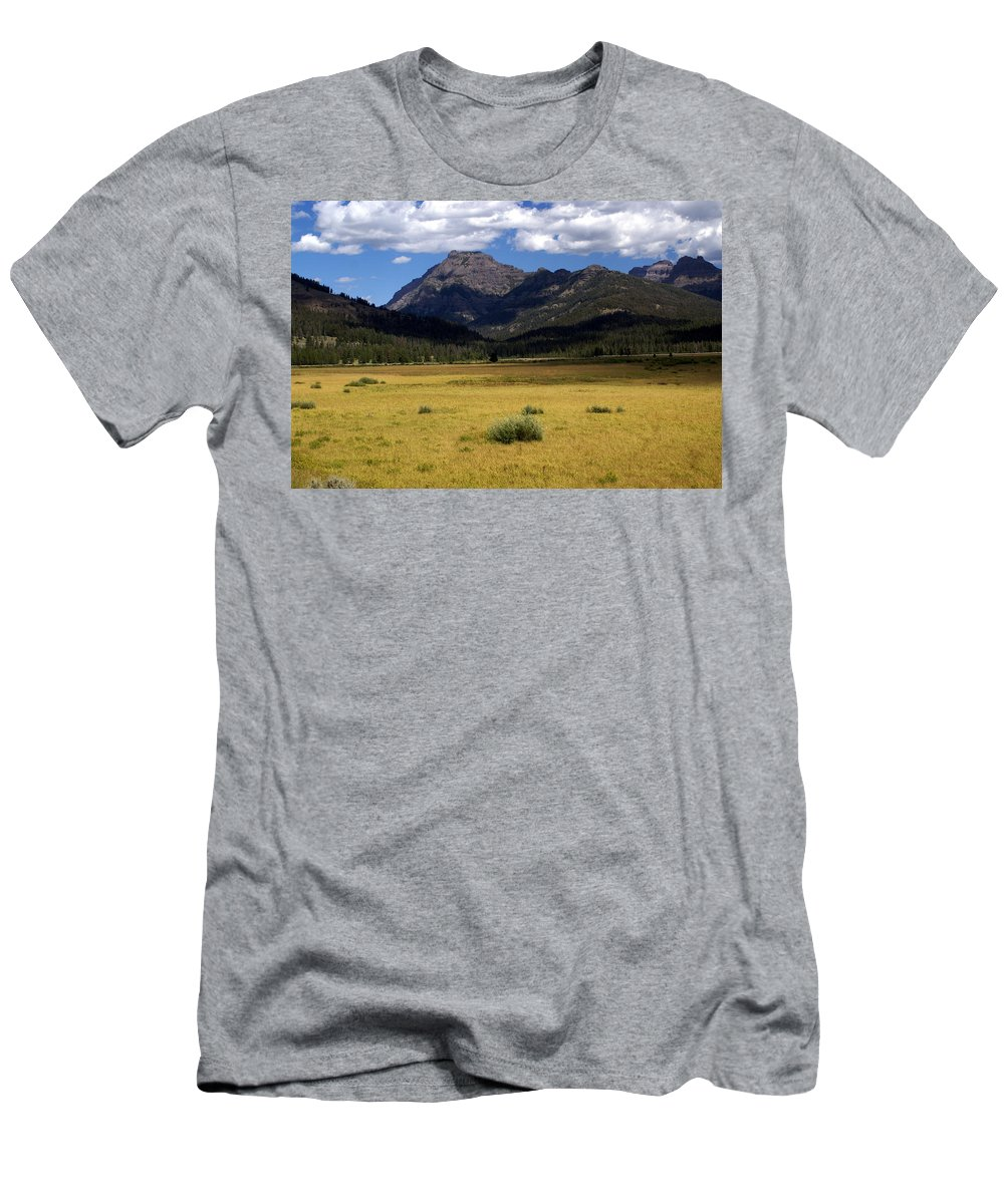 Yellowstone National Park Men's T-Shirt (Athletic Fit) featuring the photograph Slough Cree Vista by Marty Koch
