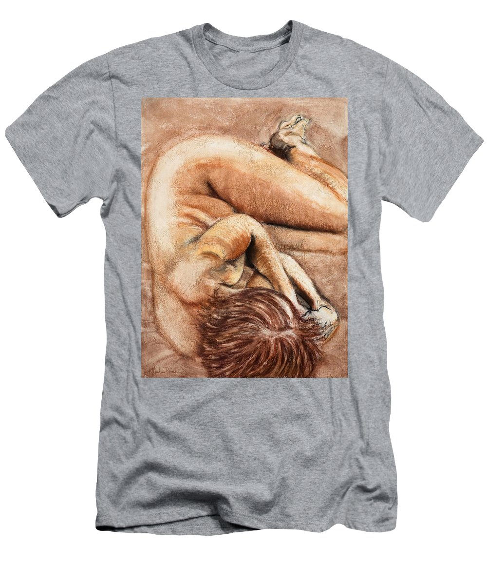Nude Men's T-Shirt (Athletic Fit) featuring the drawing Slumber Pose by Kerryn Madsen-Pietsch