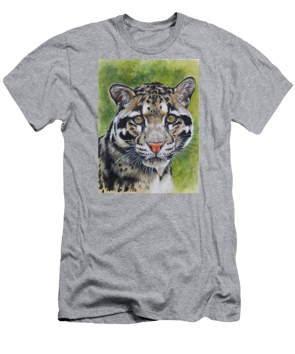 Clouded Leopard Men's T-Shirt (Athletic Fit) featuring the mixed media Small But Powerful by Barbara Keith