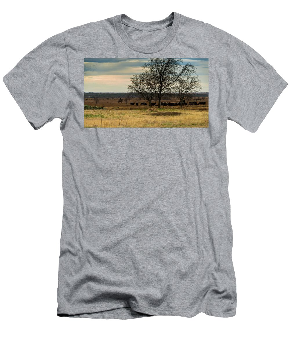 Texas Men's T-Shirt (Athletic Fit) featuring the photograph Small Herd In Winter by JG Thompson
