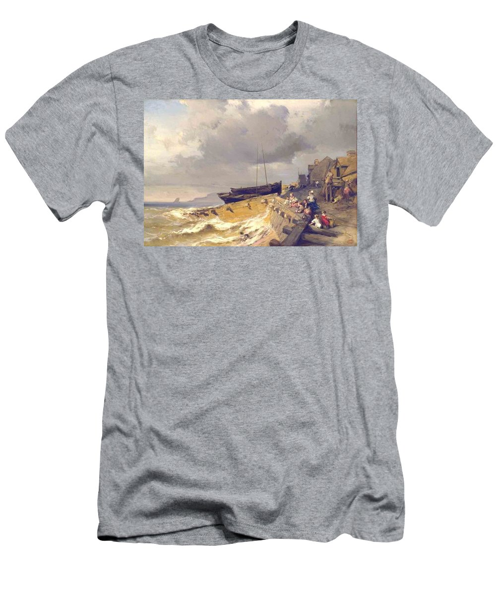 Louis-gabriel-eug�ne Isabey Men's T-Shirt (Athletic Fit) featuring the painting Small Seaport Near St. Malo In The Bretagne by Celestial Images