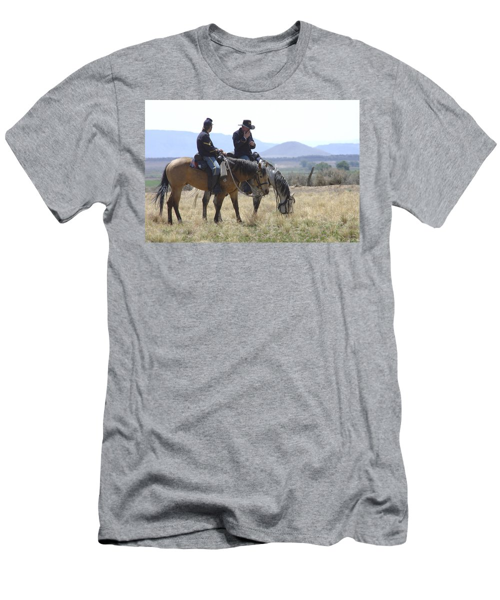 Cowboys Men's T-Shirt (Athletic Fit) featuring the photograph Smoke Break by Jerry McElroy
