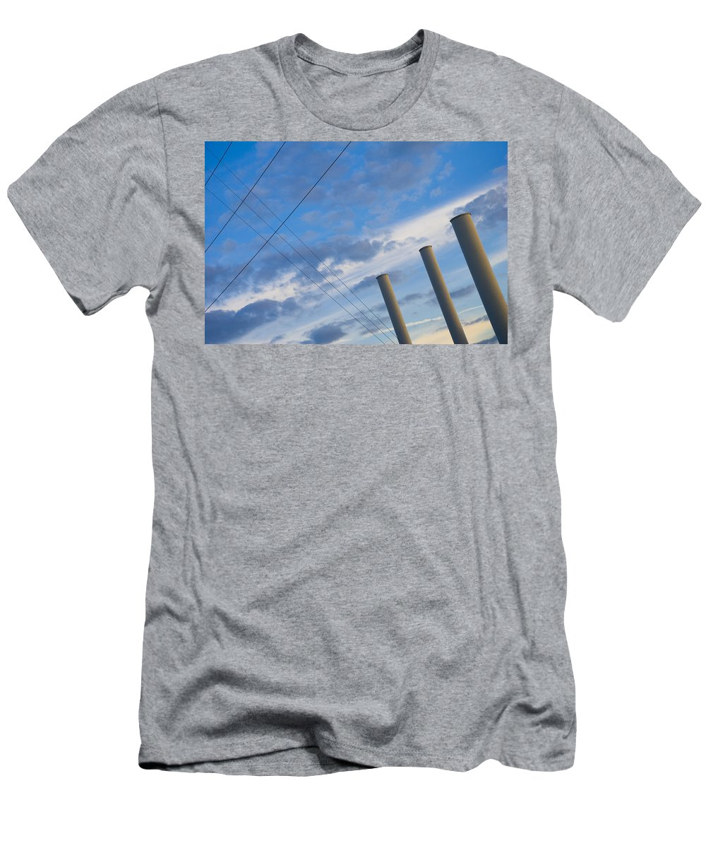 Blue Men's T-Shirt (Athletic Fit) featuring the photograph Smoke Stax by Skip Hunt