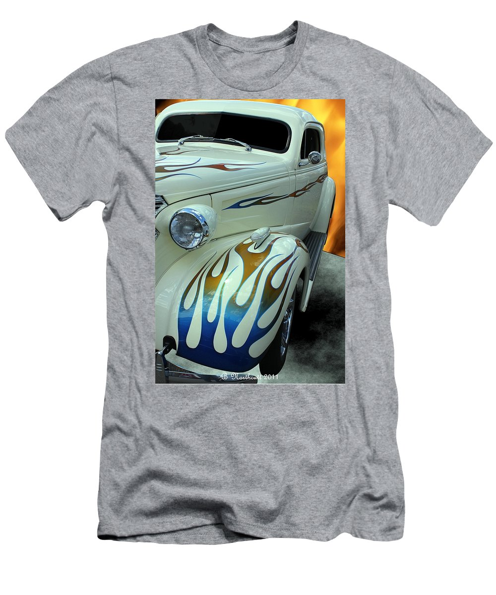1938 Men's T-Shirt (Athletic Fit) featuring the photograph Smokin' Hot - 1938 Chevy Coupe by Betty Northcutt
