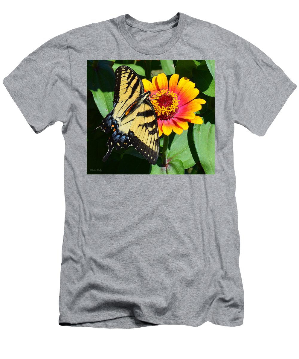 Butterfly Men's T-Shirt (Athletic Fit) featuring the photograph Snacking Tiger Swallowtail Butterfly by Kathy Kelly