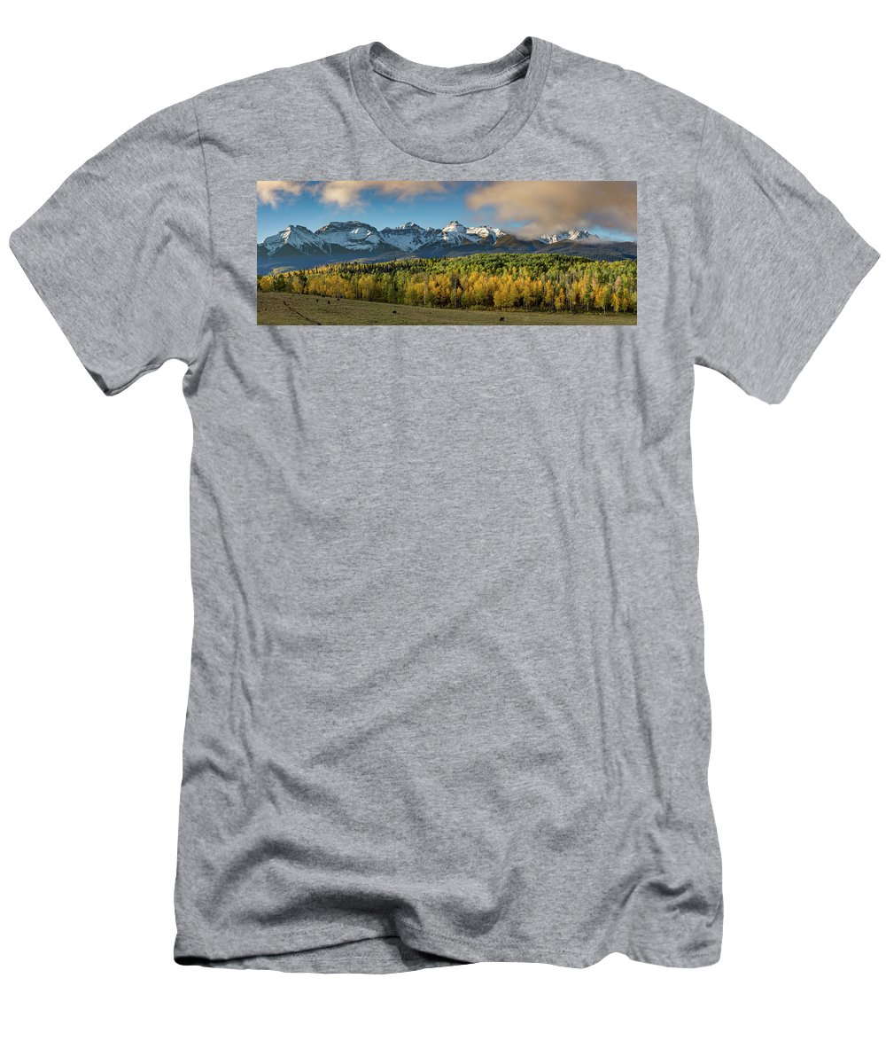 2016 Men's T-Shirt (Athletic Fit) featuring the photograph Sneffls Range Panorama From County Road 5 by Bridget Calip