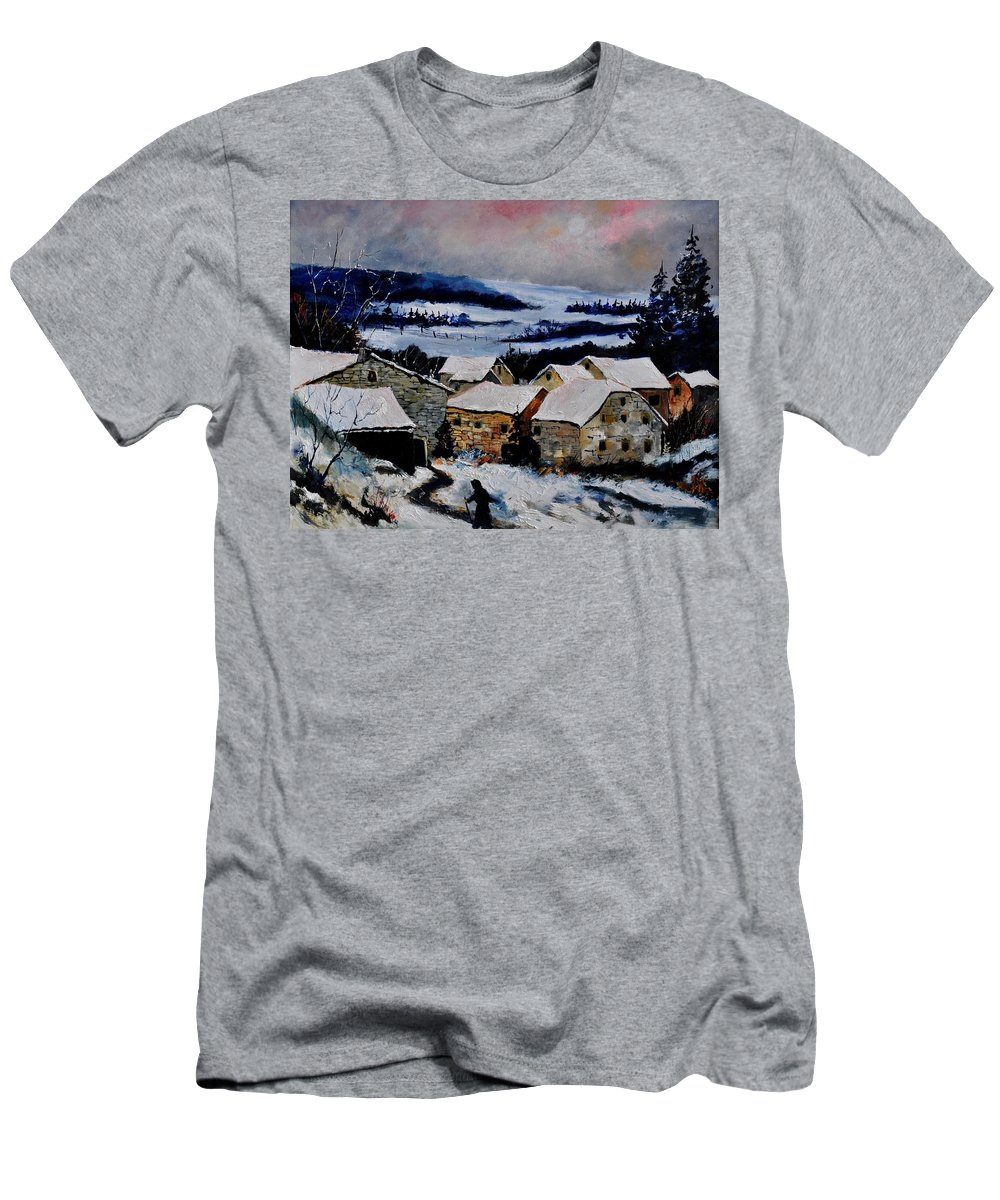 Landscape T-Shirt featuring the painting Snow in ardennes 79 by Pol Ledent