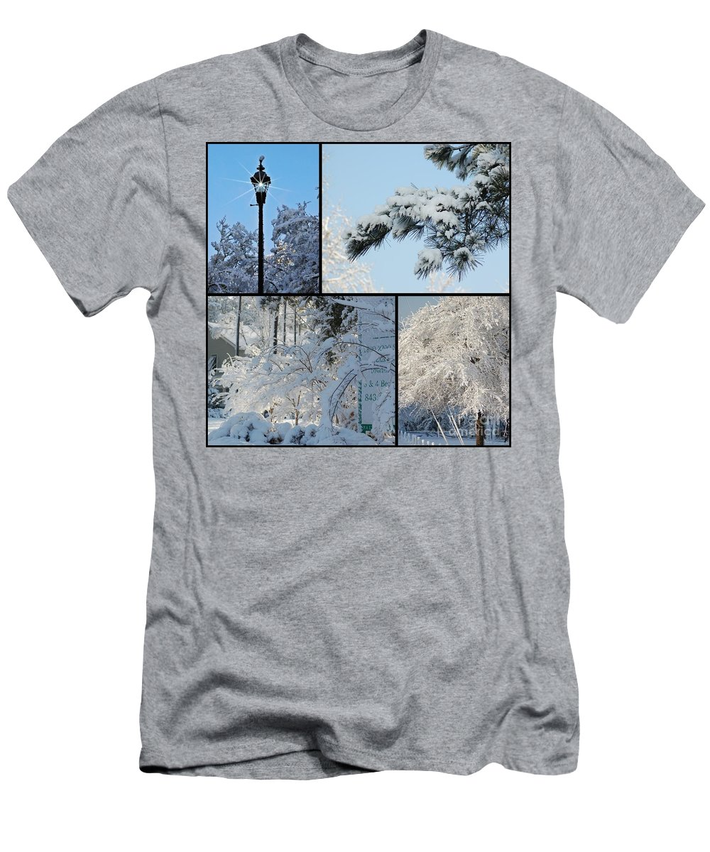 Snow Men's T-Shirt (Athletic Fit) featuring the photograph Snow Scenes Of Charleston Sc by Donna Bentley
