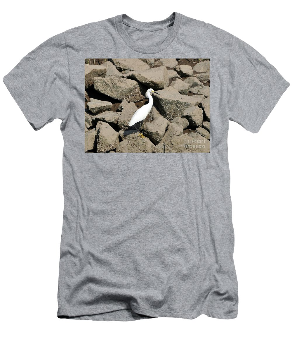 Snowy Egret Men's T-Shirt (Athletic Fit) featuring the photograph Snowy Egret On The Rocks by Al Powell Photography USA