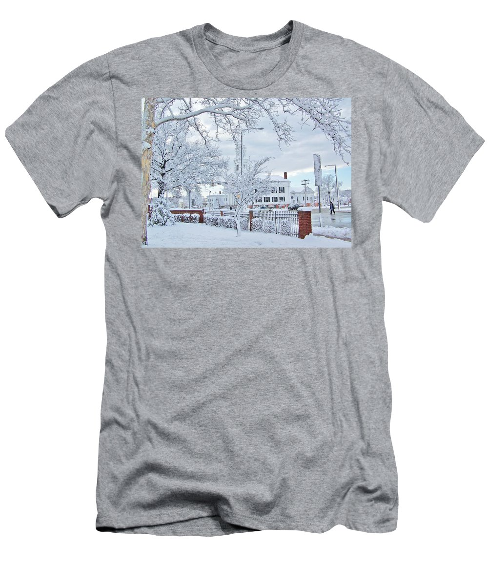 Snow Men's T-Shirt (Athletic Fit) featuring the photograph Snowy Morning by Mary Lou Faucher