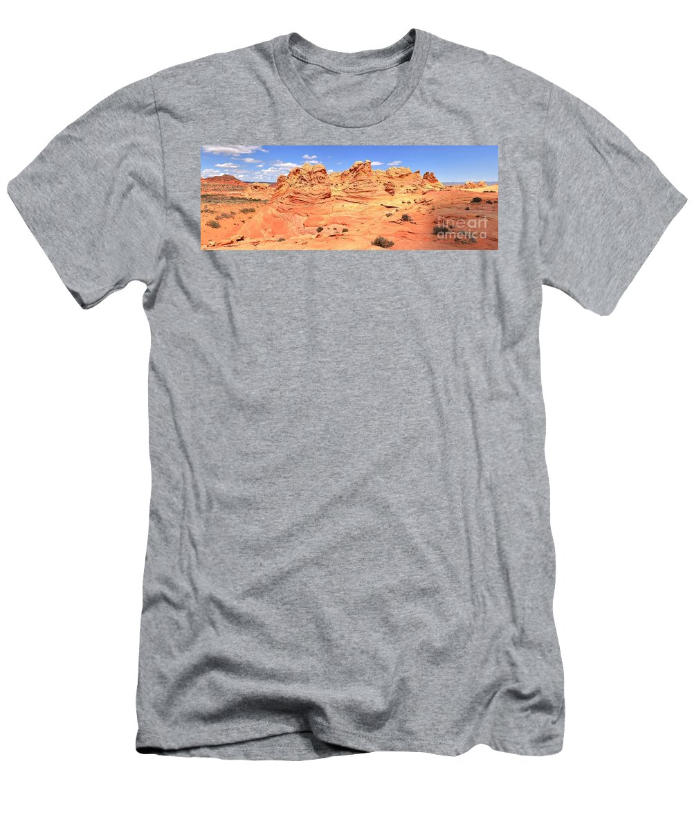 Vermilion Cliffs Panorama Men's T-Shirt (Athletic Fit) featuring the photograph Soft Light On Vermilion Cliffs by Adam Jewell
