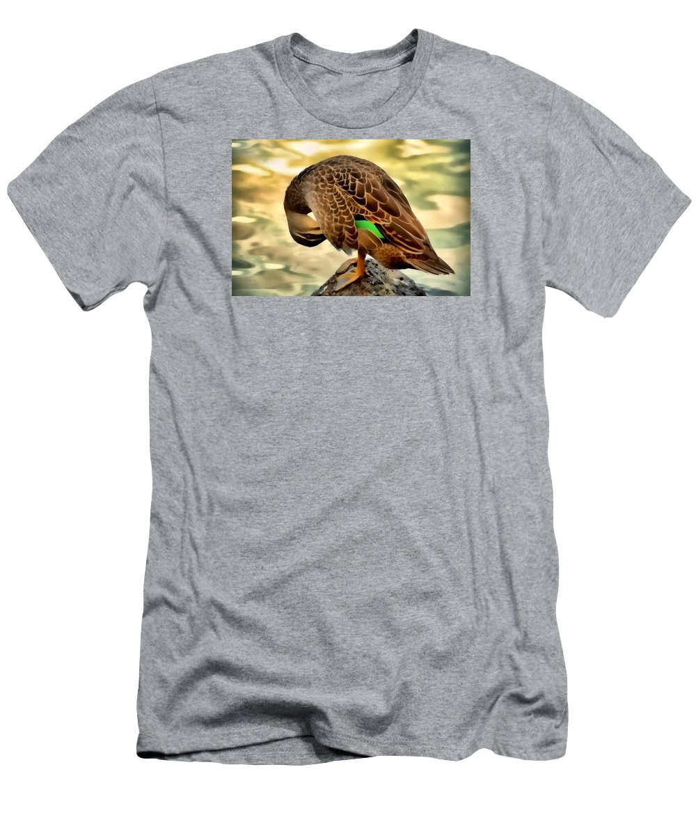 Duck Men's T-Shirt (Athletic Fit) featuring the photograph Soft Sunset Preen by Georgiana Romanovna