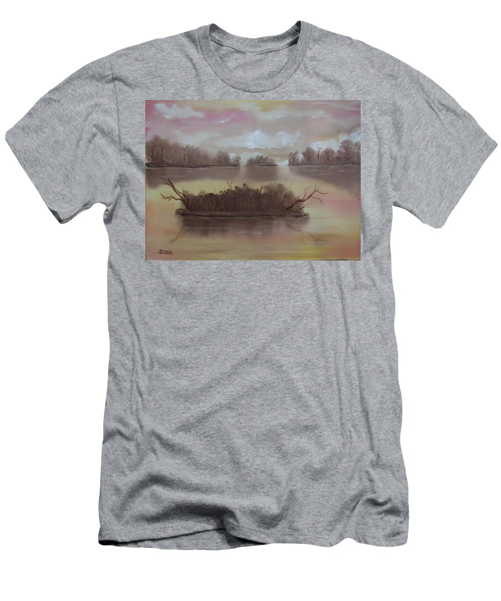Landscape Men's T-Shirt (Athletic Fit) featuring the painting Softly Spoken by Ervin Sloan