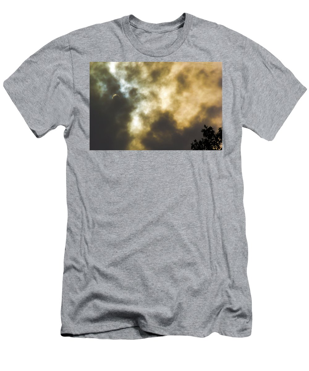 Door County Men's T-Shirt (Athletic Fit) featuring the photograph Solar Eclipse On Washington Island by Steve Waldron