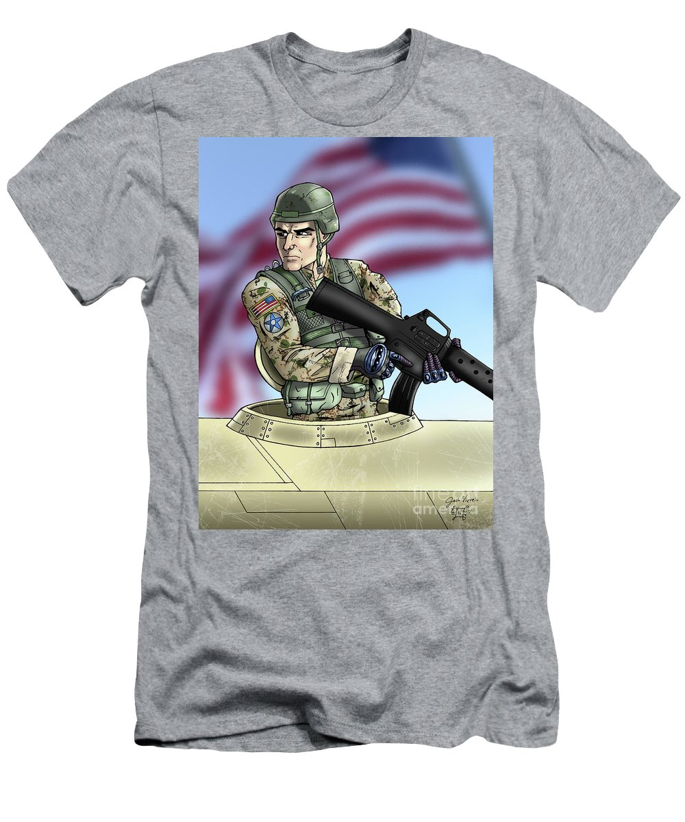 Soldier Men's T-Shirt (Athletic Fit) featuring the digital art Soldier In A Tank by Josh Vierela