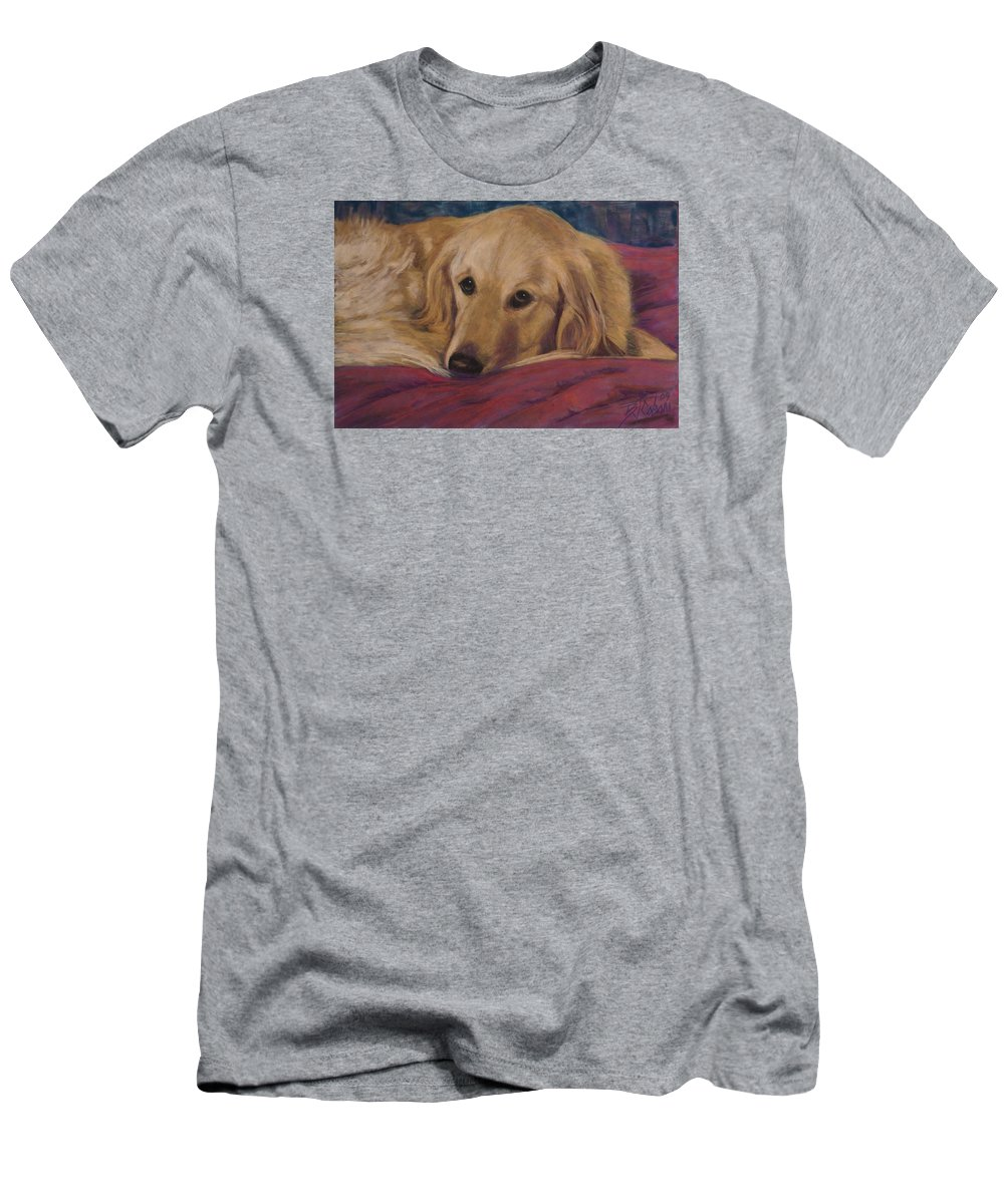 Dogs Men's T-Shirt (Athletic Fit) featuring the painting Soulfull Eyes by Billie Colson