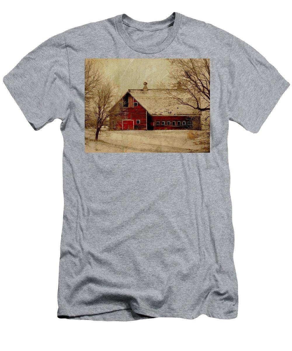 Red Men's T-Shirt (Athletic Fit) featuring the digital art South Dakota Barn by Julie Hamilton