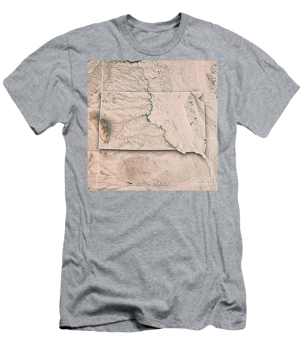 South Dakota Men's T-Shirt (Athletic Fit) featuring the digital art South Dakota State Usa 3d Render Topographic Map Neutral Border by Frank Ramspott