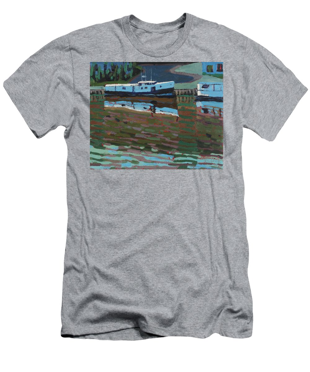 2106 Men's T-Shirt (Athletic Fit) featuring the painting Southampton And Scubbys Bluff Fishing Fleet by Phil Chadwick