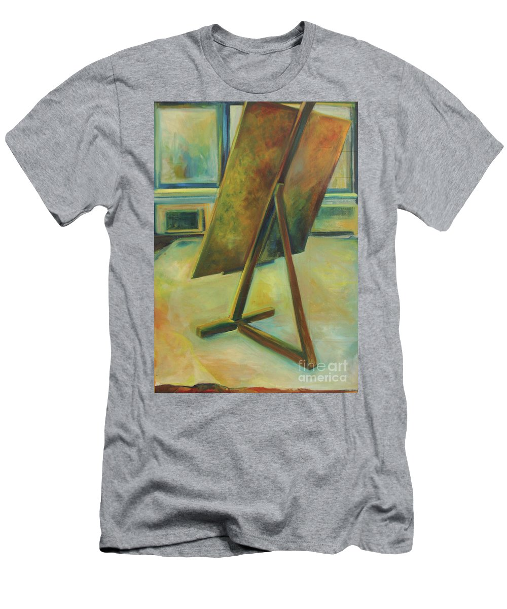 Oil Painting Men's T-Shirt (Athletic Fit) featuring the painting Space Filled And Empty by Daun Soden-Greene