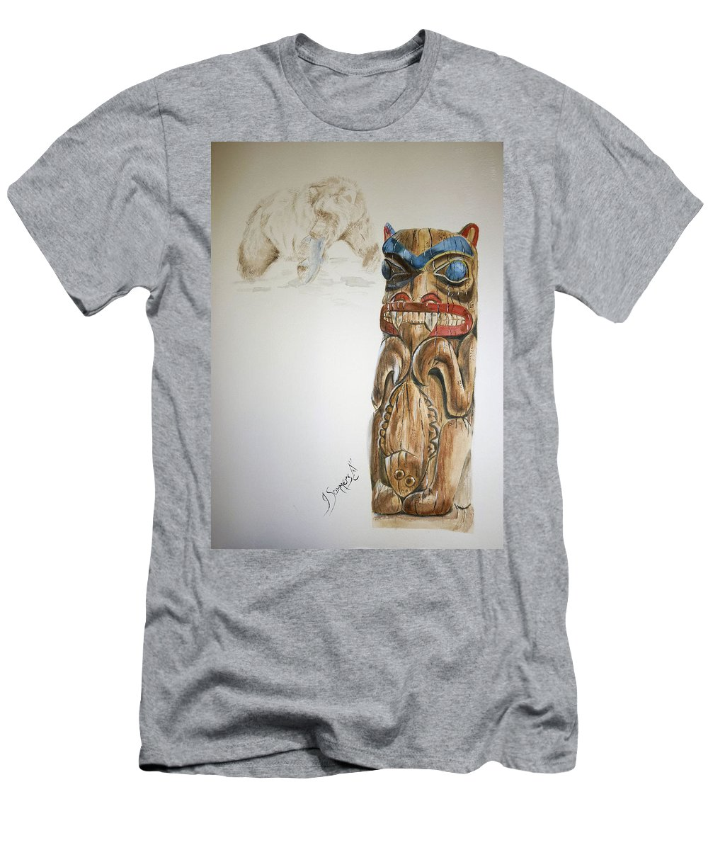 Bear Men's T-Shirt (Athletic Fit) featuring the drawing Spirit Bear by Jeannette Sommers