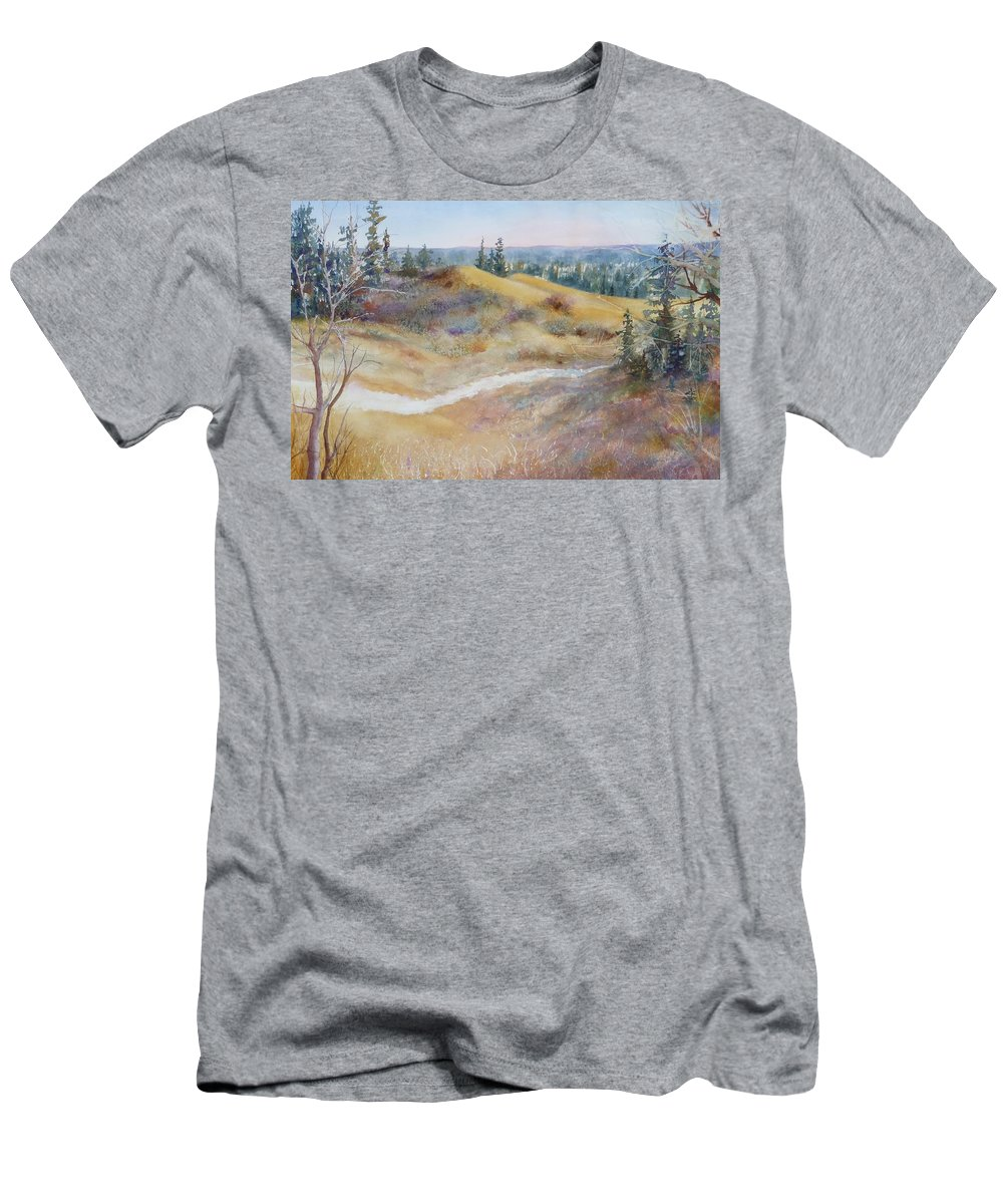 Landscape Men's T-Shirt (Athletic Fit) featuring the painting Spirit Sands by Ruth Kamenev