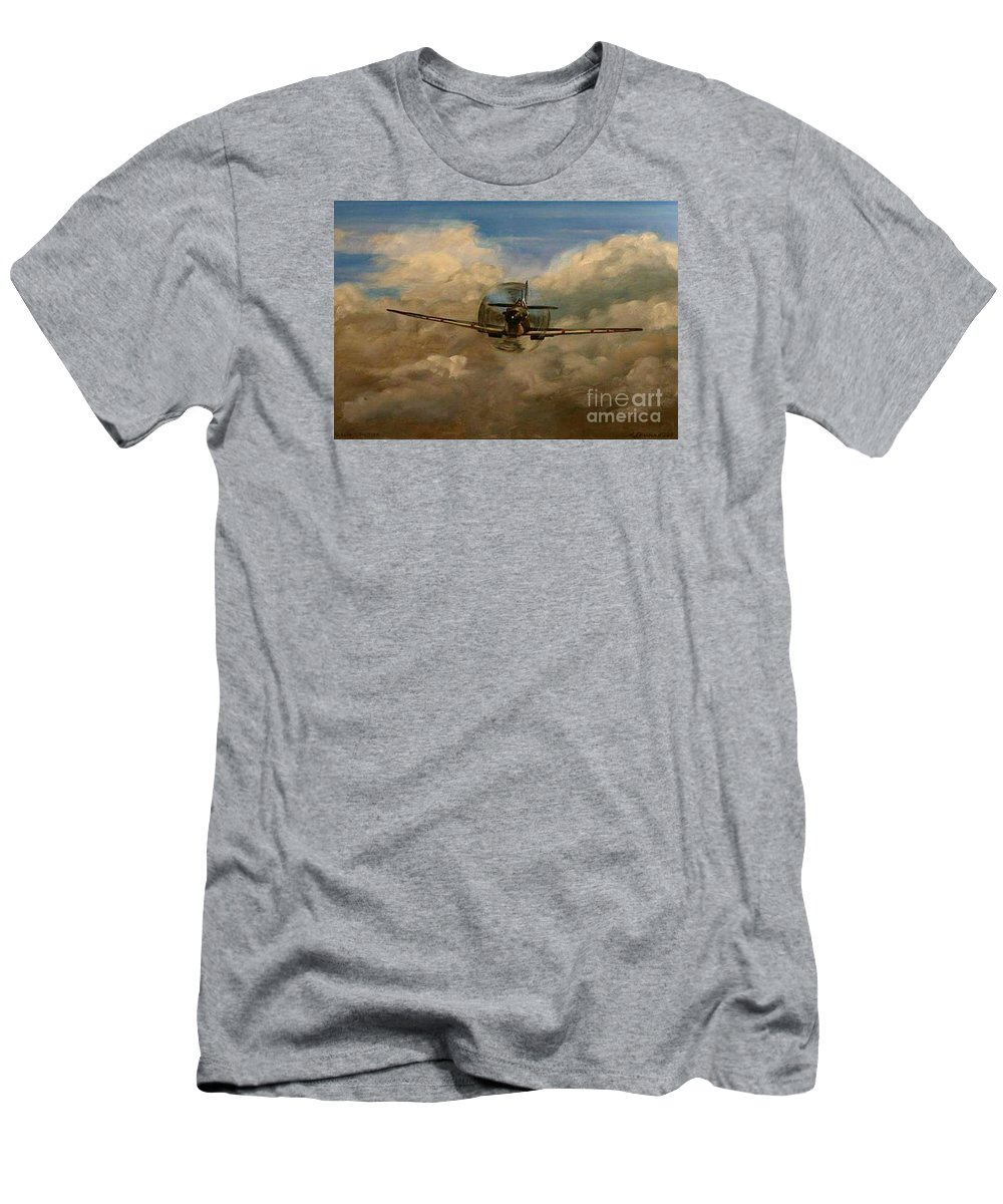 Spitfire Men's T-Shirt (Athletic Fit) featuring the painting Spitfire Mk19 1945 Warbird - Dedicated To My Closest Friend Melody Lasola 08 08 83 - 25 10 09 by Richard John Holden RA