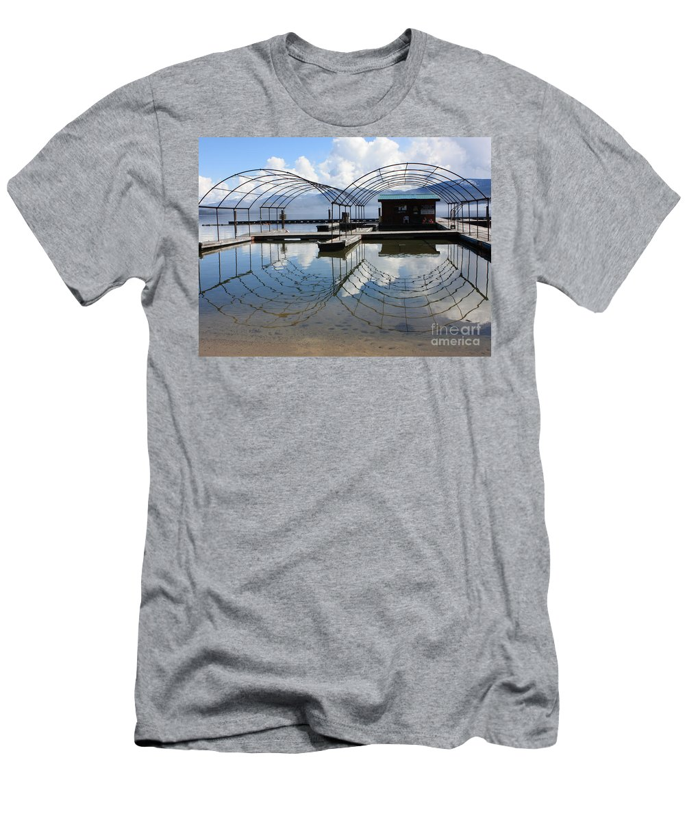 Spring Men's T-Shirt (Athletic Fit) featuring the photograph Spring Docks On Priest Lake by Carol Groenen